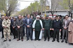 راهپیمایی مردم شهرستان دهاقان در حمایت از سپاه پاسداران